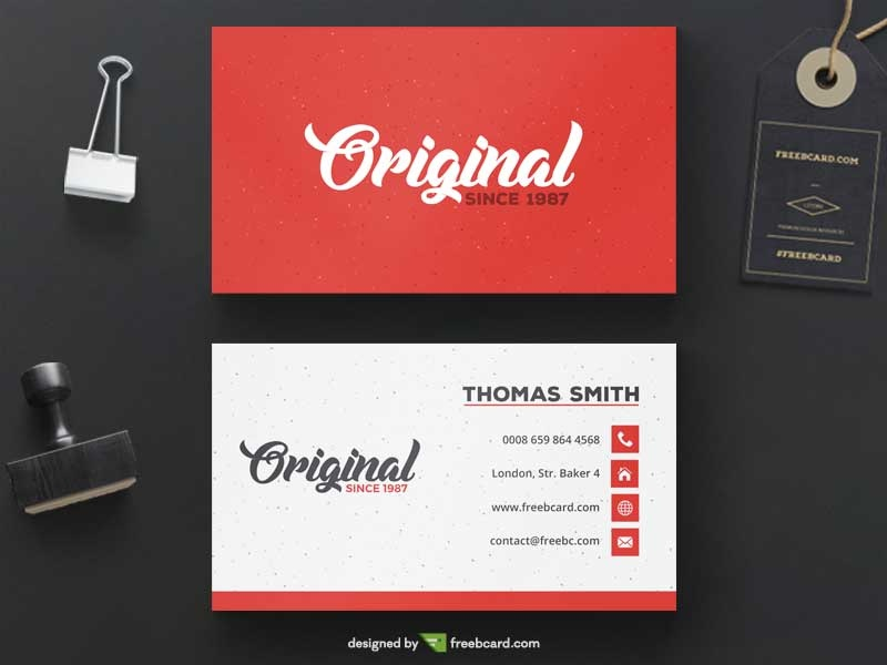 Red business card template freebcard in free business card template creative accmission Gallery